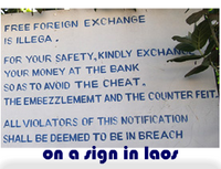 on a sign in laos